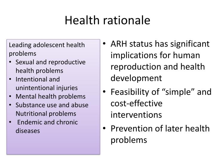 Health rationale