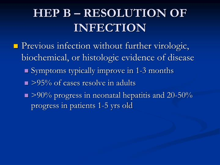 HEP B – RESOLUTION OF INFECTION