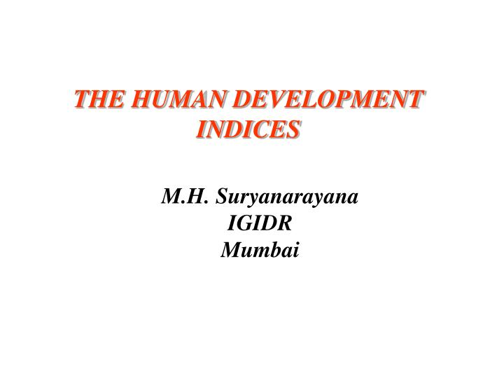 the human development indices n.
