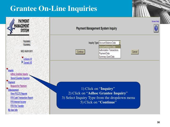 Grantee On-Line Inquiries