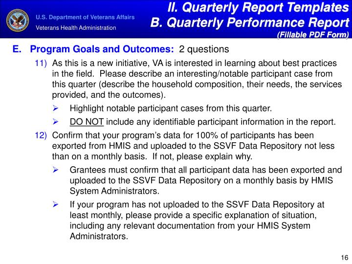 II. Quarterly Report Templates