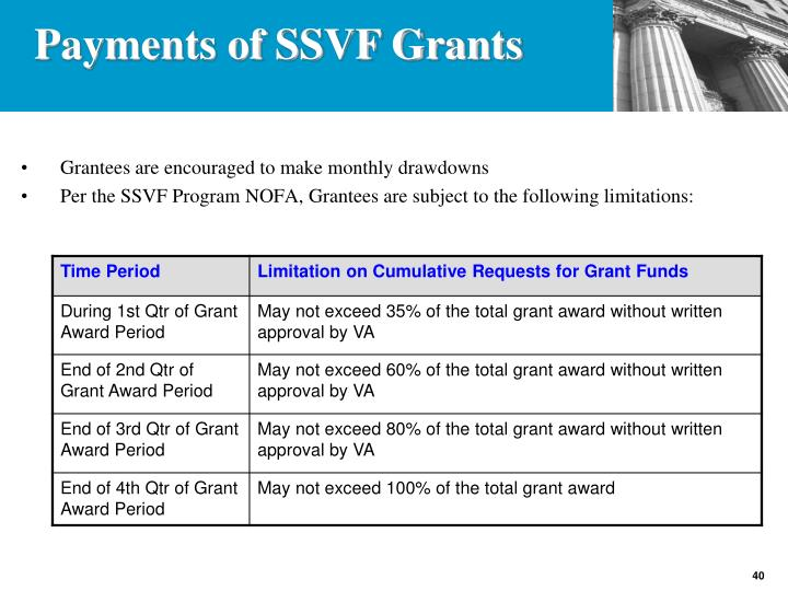 Grantees are encouraged to make monthly drawdowns