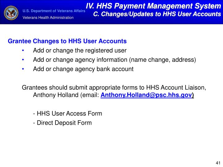IV. HHS Payment Management System
