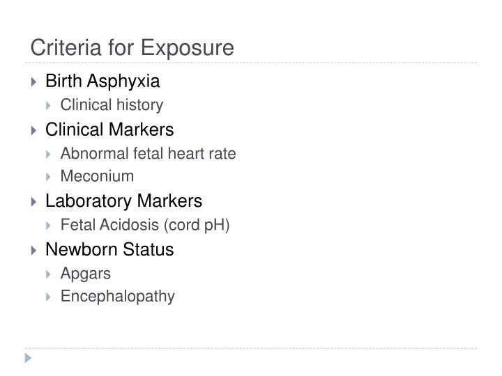 Criteria for Exposure