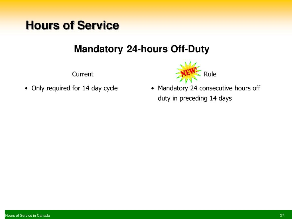 Ppt Hours Of Service In Canada Powerpoint Presentation Free Download Id 6686442