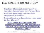 learnings from ami study