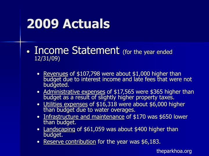 2009 Actuals