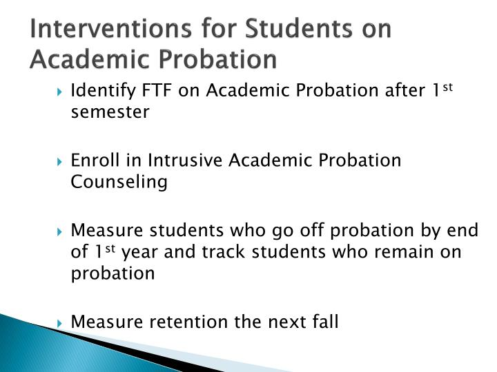 Interventions for Students on Academic Probation