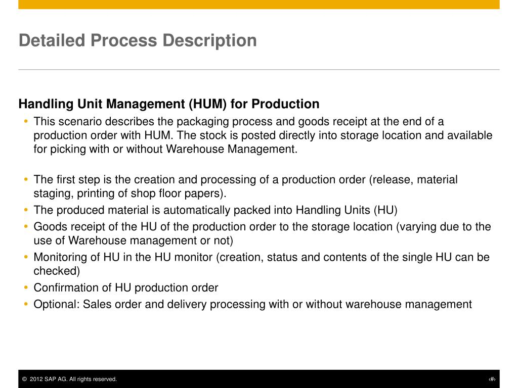 PPT - Handling Unit Management (HUM) for Production PowerPoint
