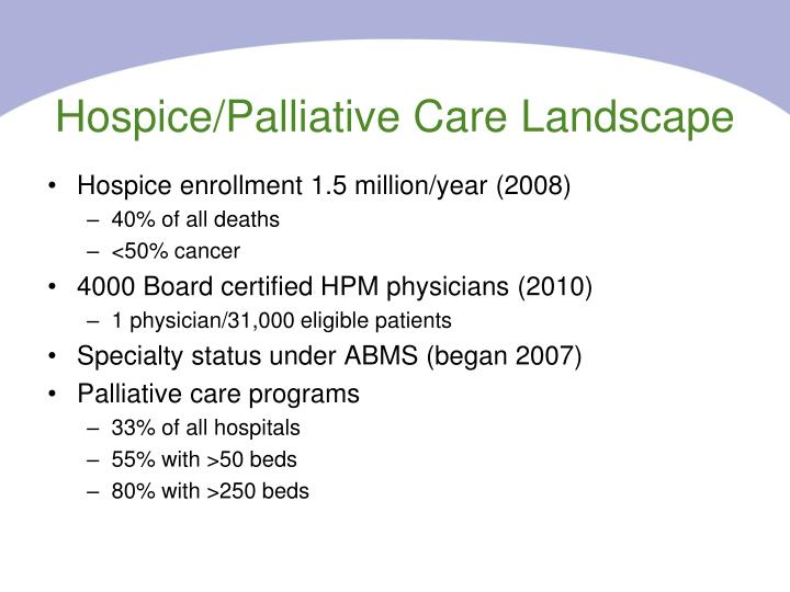 Hospice/Palliative Care Landscape