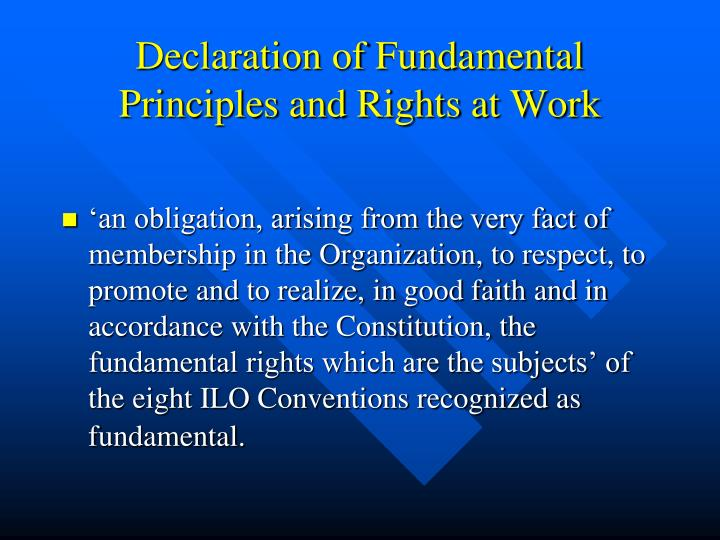 Declaration of Fundamental Principles and Rights at Work