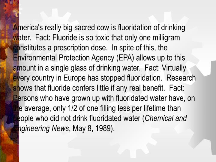 America's really big sacred cow is fluoridation of drinking water.  Fact: Fluoride is so toxic that only one milligram constitutes a prescription dose.  In spite of this, the Environmental Protection Agency (EPA) allows up to this amount in a single glass of drinking water.  Fact: Virtually every country in Europe has stopped fluoridation.  Research shows that fluoride confers little if any real benefit.  Fact: Persons who have grown up with fluoridated water have, on the average, only 1/2 of one filling less per lifetime than people who did not drink fluoridated water (