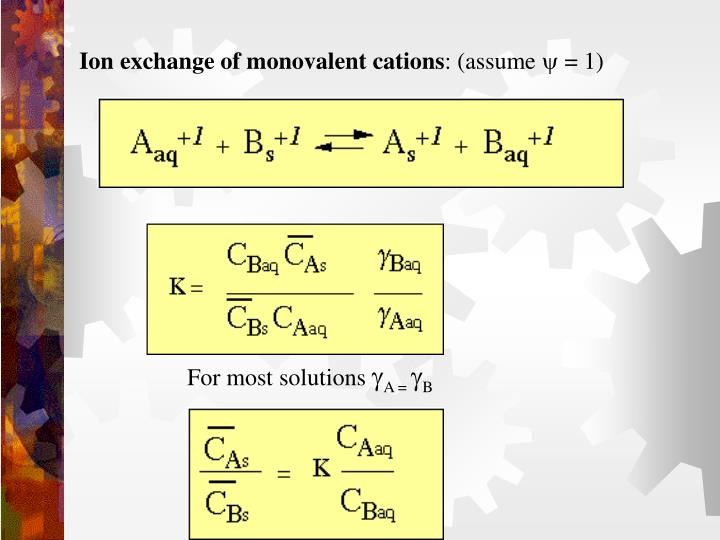 Ion exchange of monovalent cations
