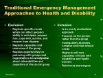 traditional emergency management approaches to health and disability
