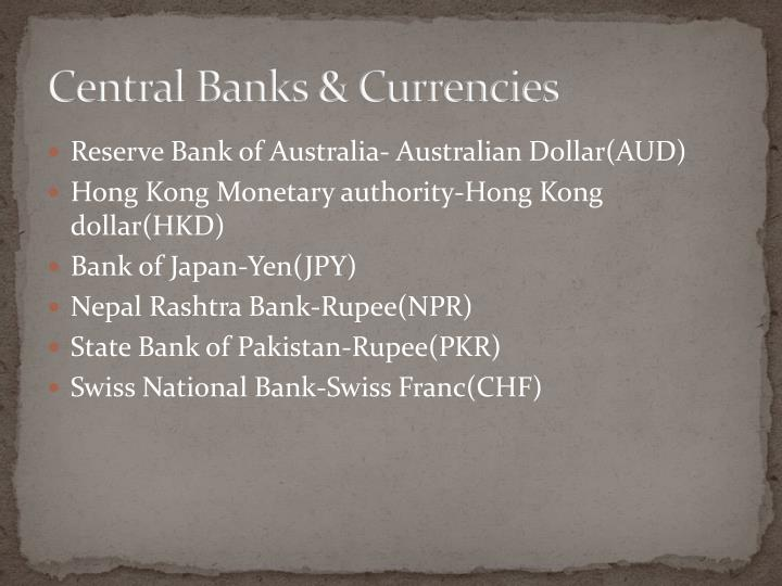 Central banks currencies