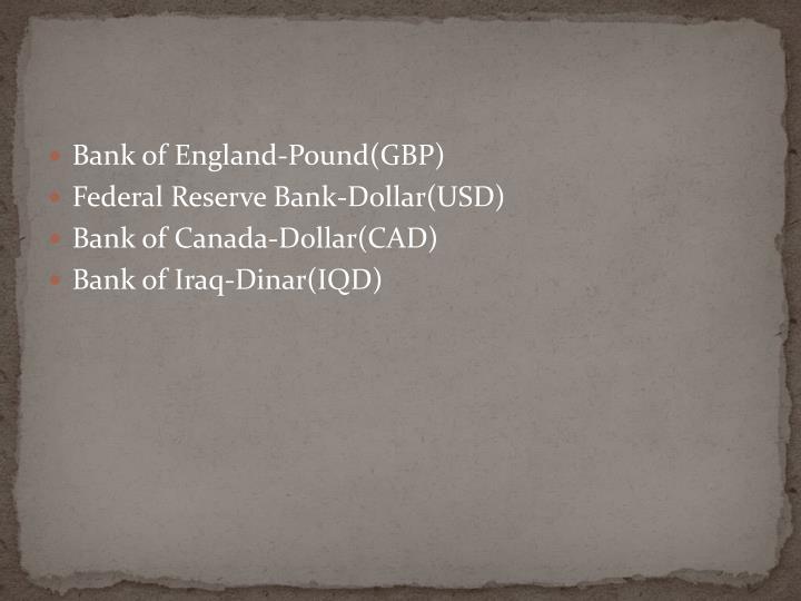 Bank of England-Pound(GBP)