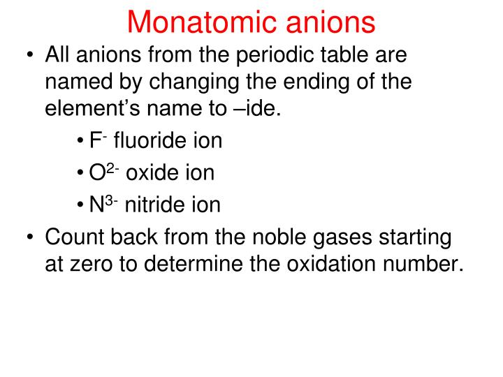 Ppt monatomic ions powerpoint presentation id6687141 monatomic anions all anions from the periodic table are named by urtaz Image collections
