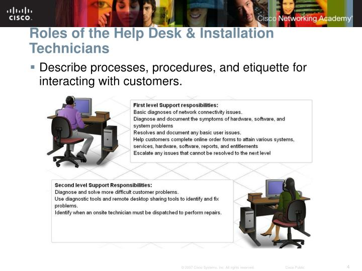 Roles of the Help Desk & Installation Technicians