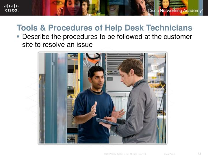 Tools & Procedures of Help Desk Technicians
