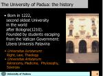 the university of padua the history