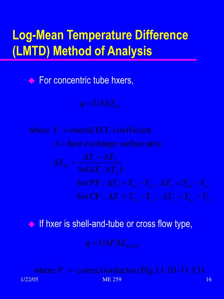 Log-Mean Temperature Difference (LMTD) Method of Analysis