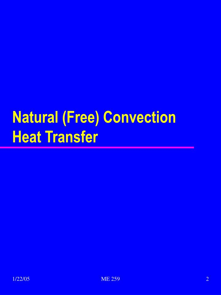 Natural free convection heat transfer