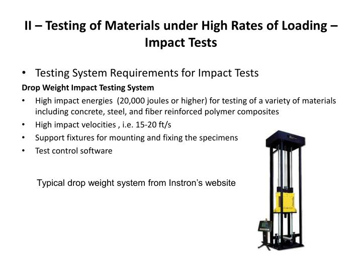II – Testing of Materials under High Rates of Loading – Impact Tests