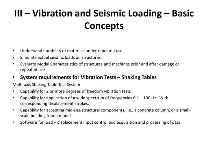 III – Vibration and Seismic Loading – Basic Concepts