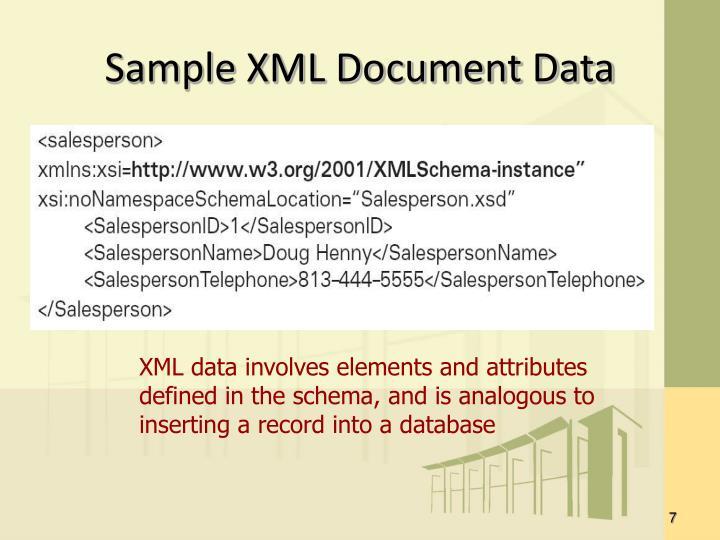 Sample XML Document Data