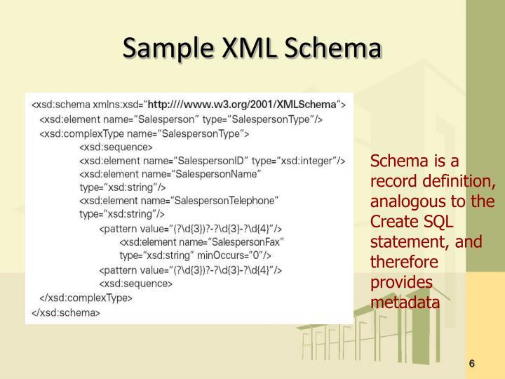 Sample XML Schema