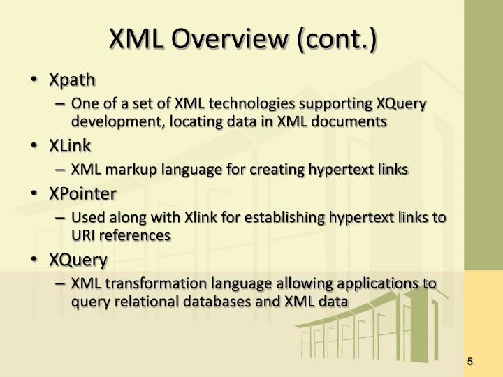 XML Overview (cont.)