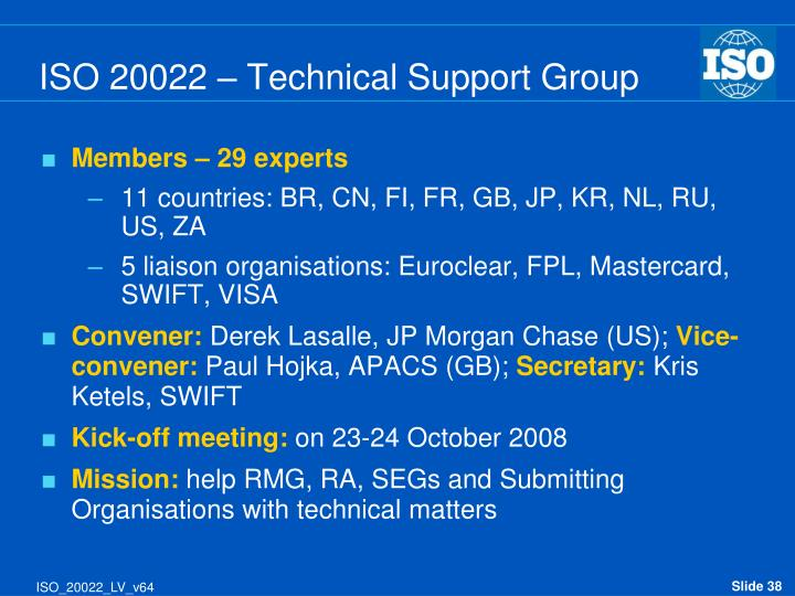 ISO 20022 – Technical Support Group