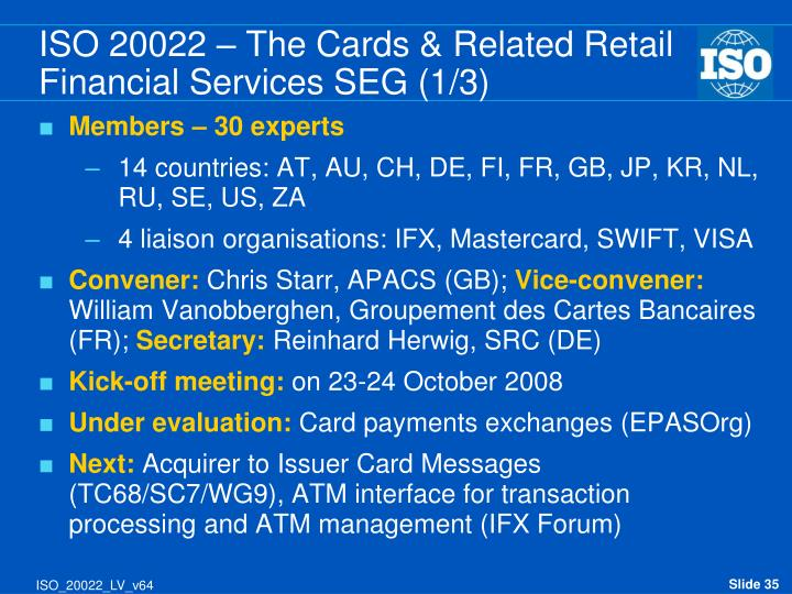 ISO 20022 – The Cards & Related Retail Financial Services SEG (1/3)