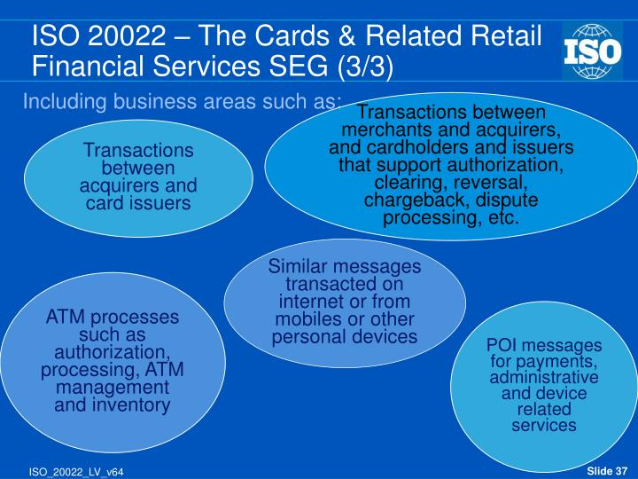 ISO 20022 – The Cards & Related Retail Financial Services SEG (3/3)