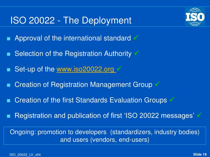 ISO 20022 - The Deployment
