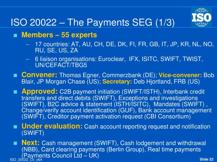 ISO 20022 – The Payments SEG (1/3)