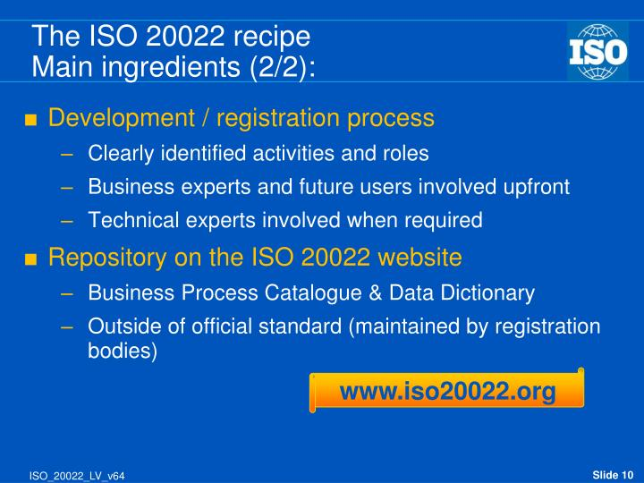 The ISO 20022 recipe