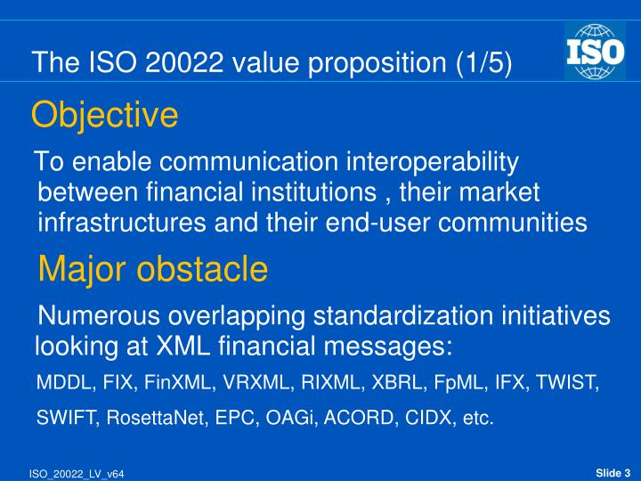 The iso 20022 value proposition 1 5