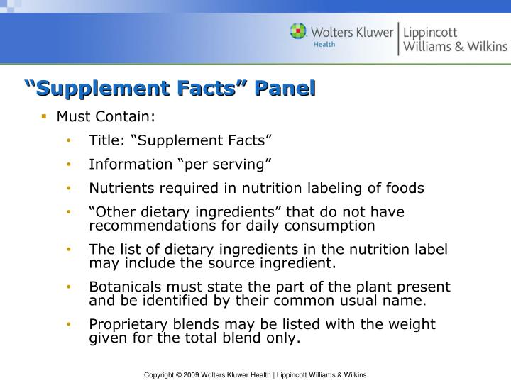"""""""Supplement Facts"""" Panel"""