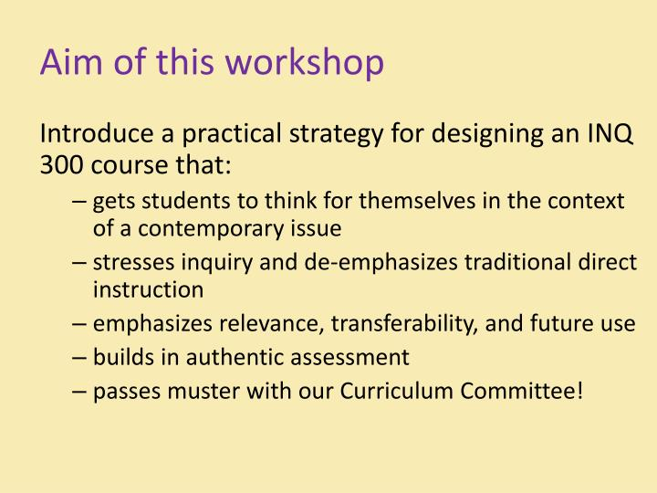 Aim of this workshop