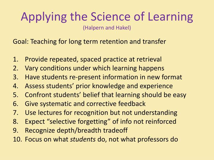 Applying the science of learning halpern and hakel
