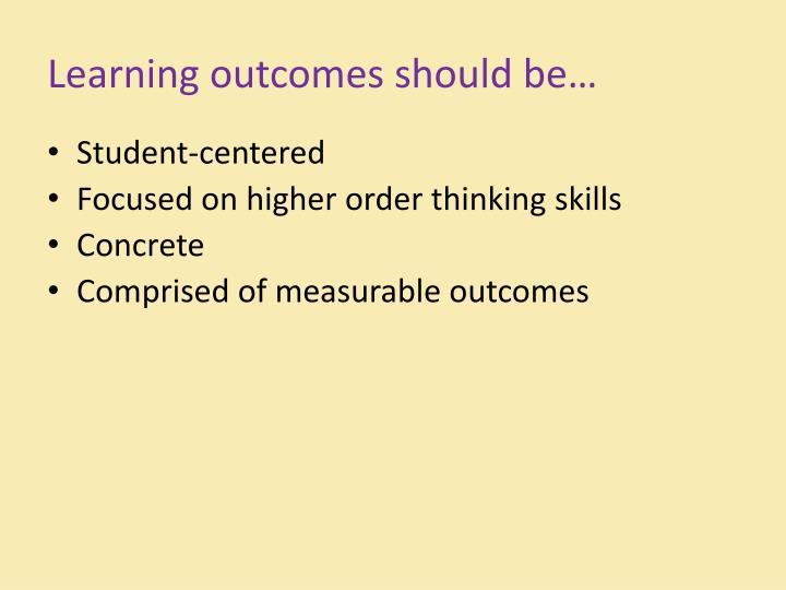 Learning outcomes should be…