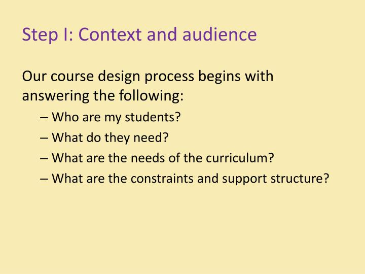 Step I: Context and audience
