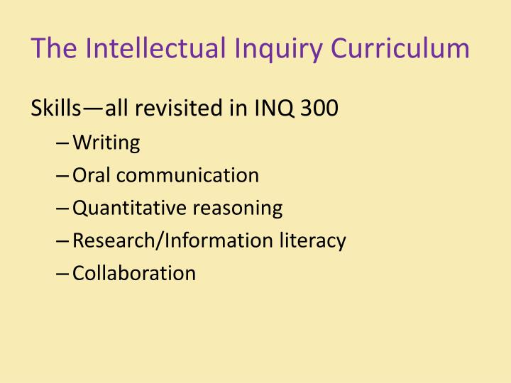 The Intellectual Inquiry Curriculum
