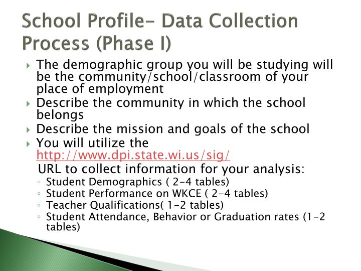 School Profile- Data Collection Process (Phase I)