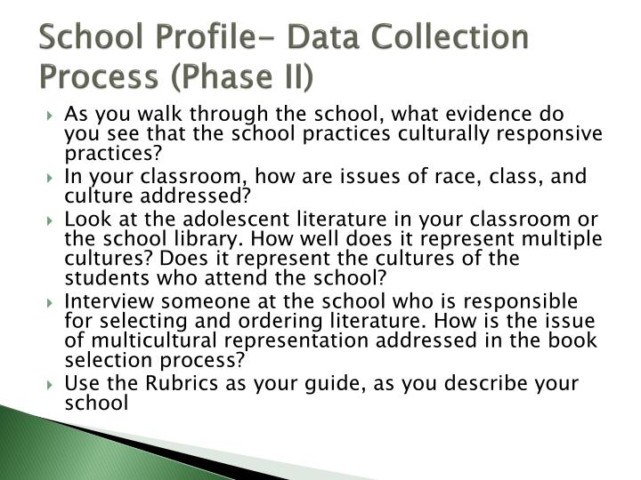 School Profile- Data Collection Process (Phase II)