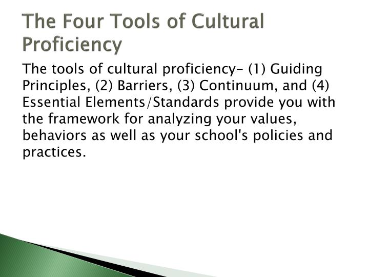 The Four Tools of Cultural Proficiency