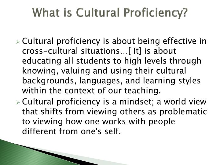 What is cultural proficiency