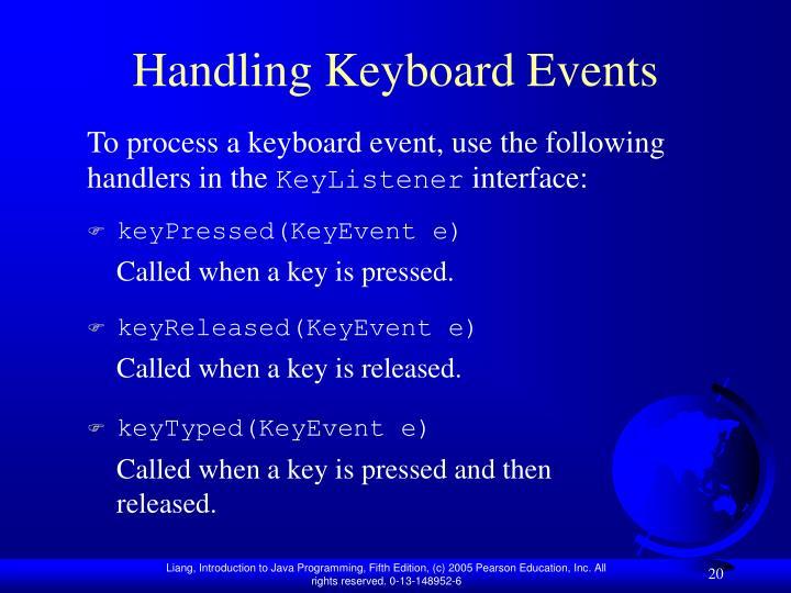 Handling Keyboard Events