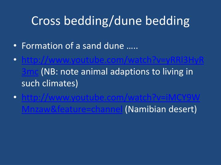 Cross bedding/dune bedding